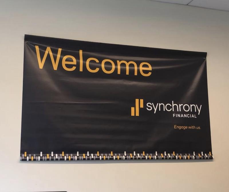 Welcome sign at the Synchrony Financial externship