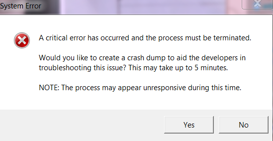 Crash whenever in-game client launches