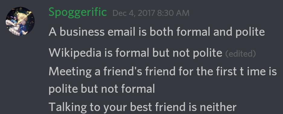 Formal vs Polite