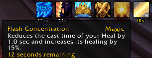 Screenshot showing the in-game tooltip of 5 stacks of Flash Concentration.