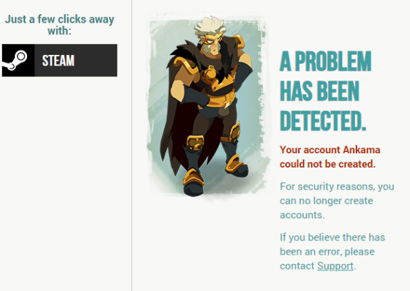 Unable to create a new acc - WAKFU FORUM: Discussion forum