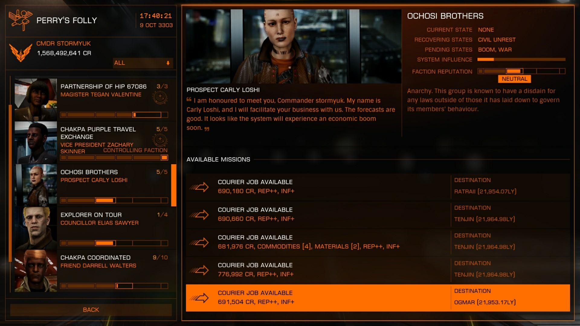 Tried running Federal missions between Chakpa <> Ochosi   Bad   Real