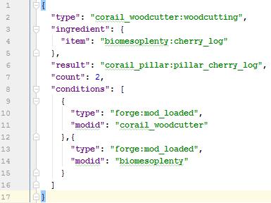 Corail Woodcutter : recipe format