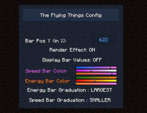 client config screen in game : The Flying Things