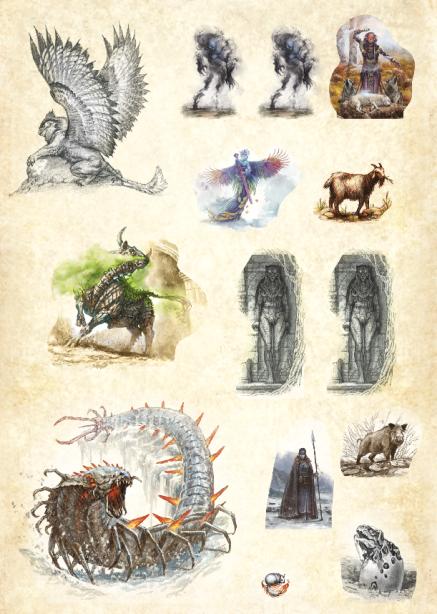 Planche cartonnée à pions avec des illustrations de monstres de Dragons