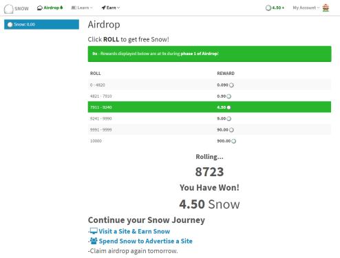 Reclama Snow Token Airdrop ahora y gana de 4.5 a 900 tokens SNOW gratis.  Airdrop-snowtoken-reclamo