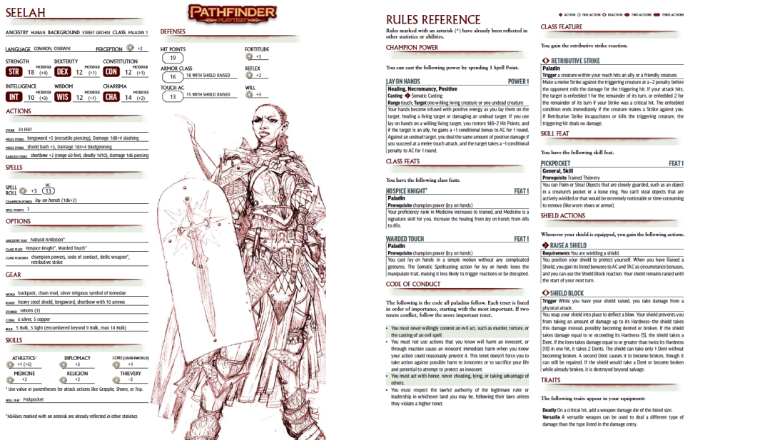 Pathfinder Playtest- Seelah the Paladin Character Sheet