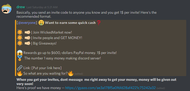 This guy is running a scam server on discord,