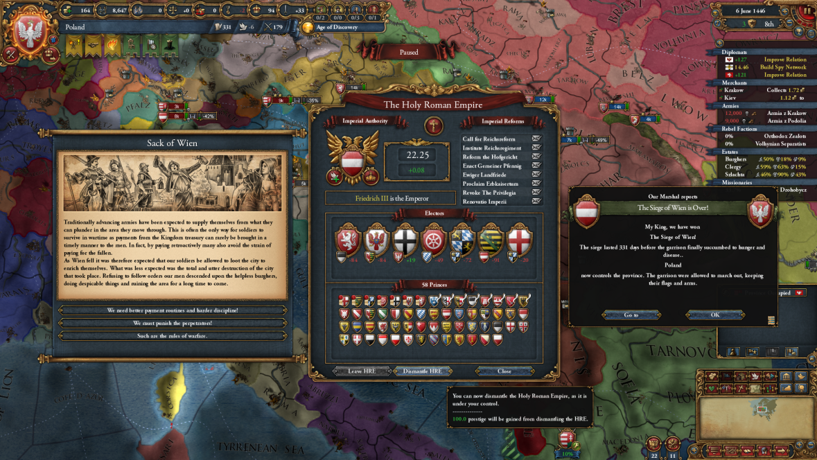 Well that's the fastest HRE dismantlement I've ever done  : eu4