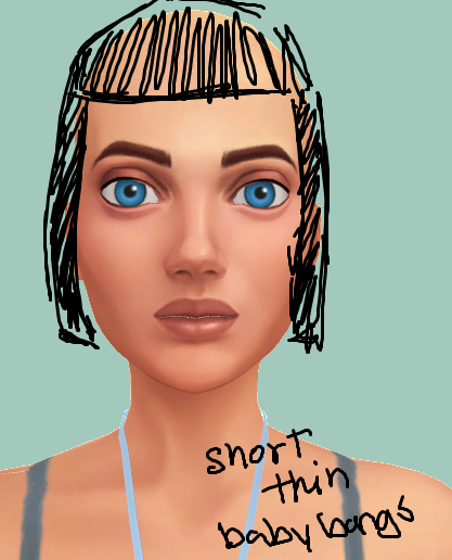 Mod The Sims Short Hair With Baby Bangs Found