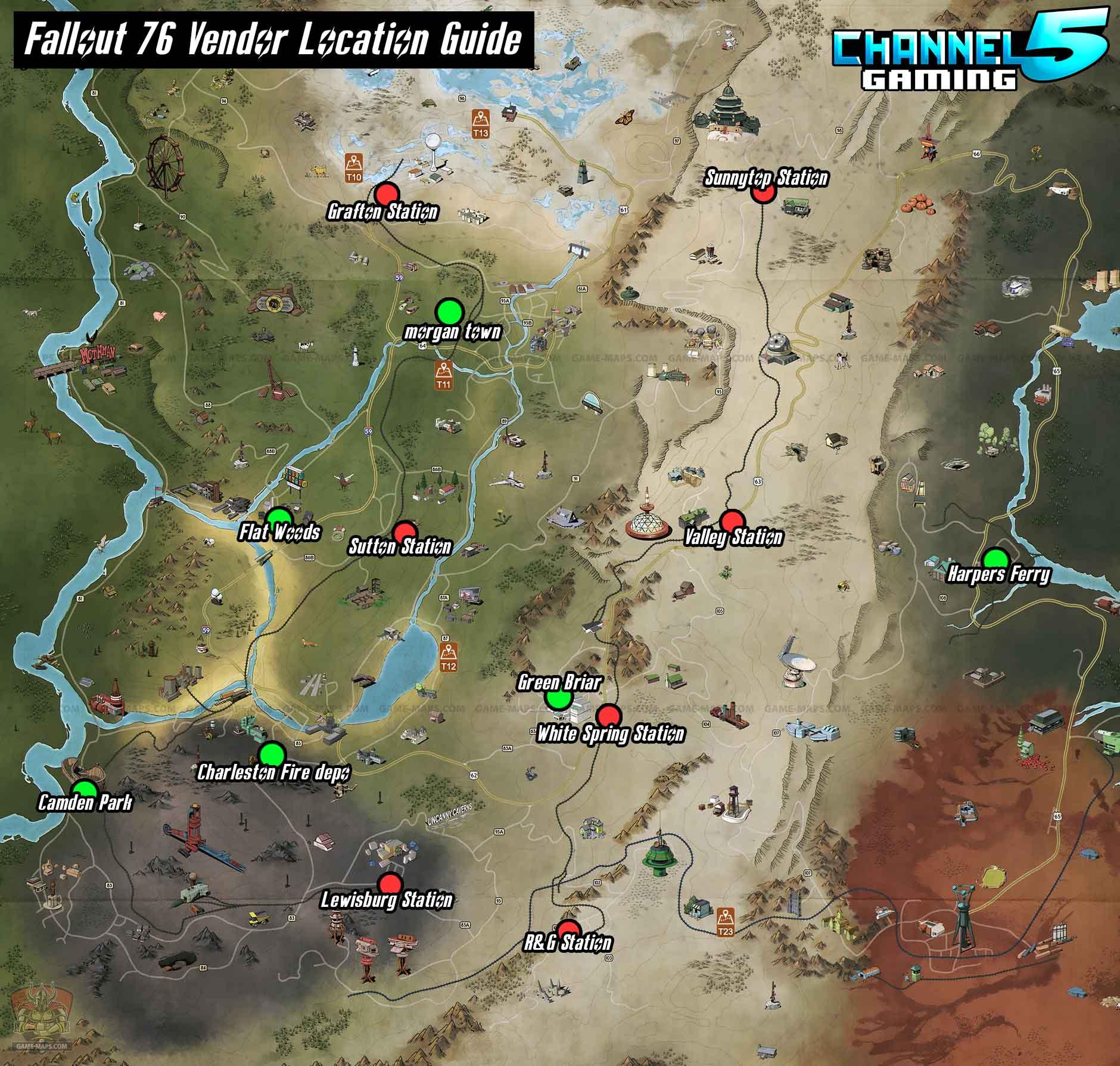 All Vendor Locations Map! : fo76