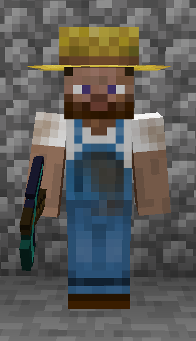 A player wearing a farmer hat