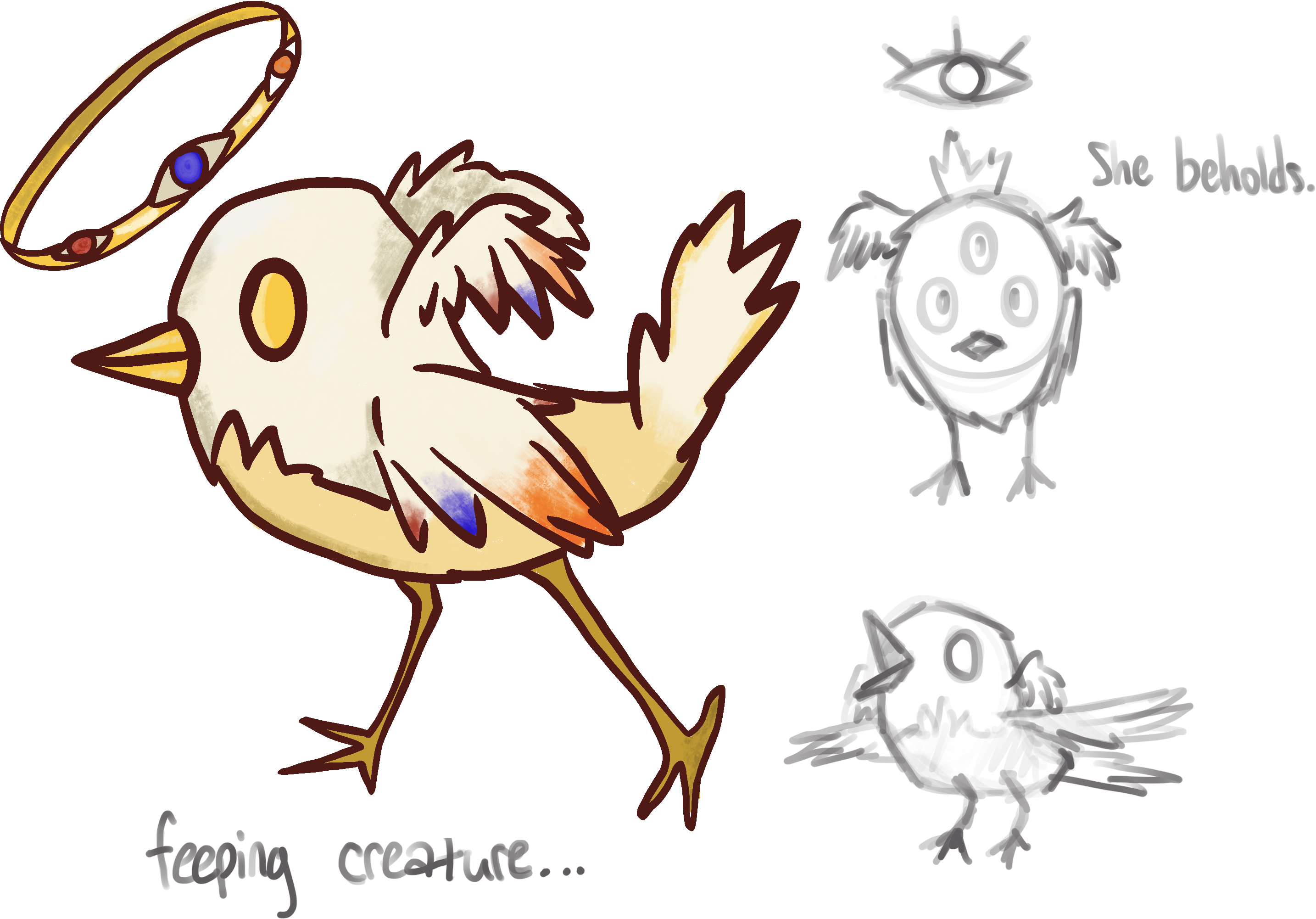 Fletcher as depicted by @ghostmusing. A small white bird with golden eyes and a haloof blue and red-orange hues.