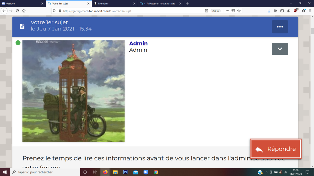 Changer la dimension de l'avatar sans defformer la version mobile - AwesomeBB Unknown