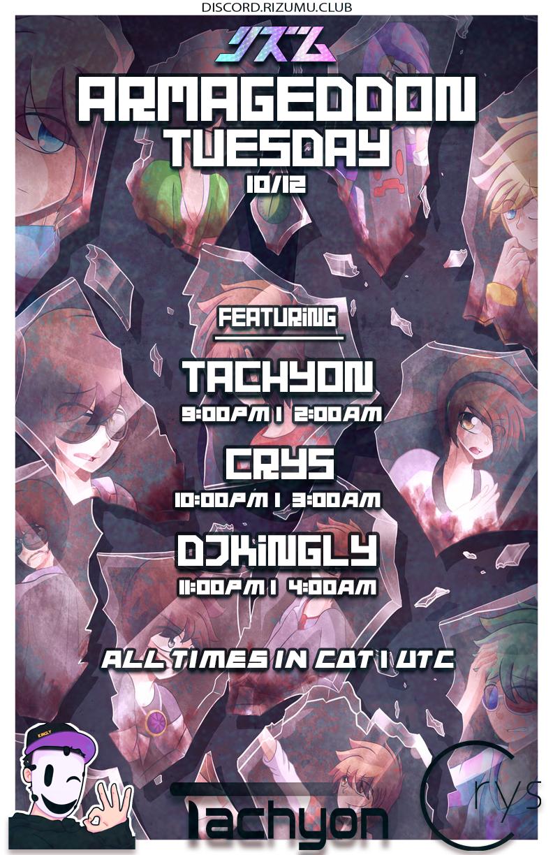 Flyer for Rizumu Armageddon 10/12/2021