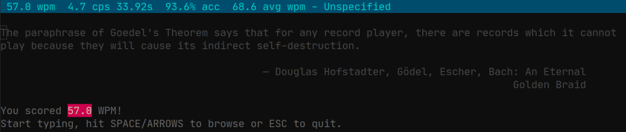 screenshot of wpm showing 57.0 WPM