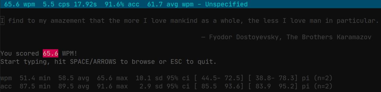 screenshot of wpm showing 65.6 WPM
