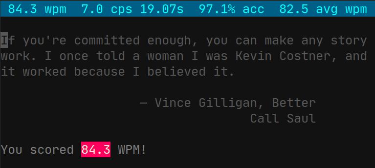 screenshot of wpm with 84.3 WPM