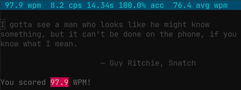 screenshot of wpm with 97.9 WPM