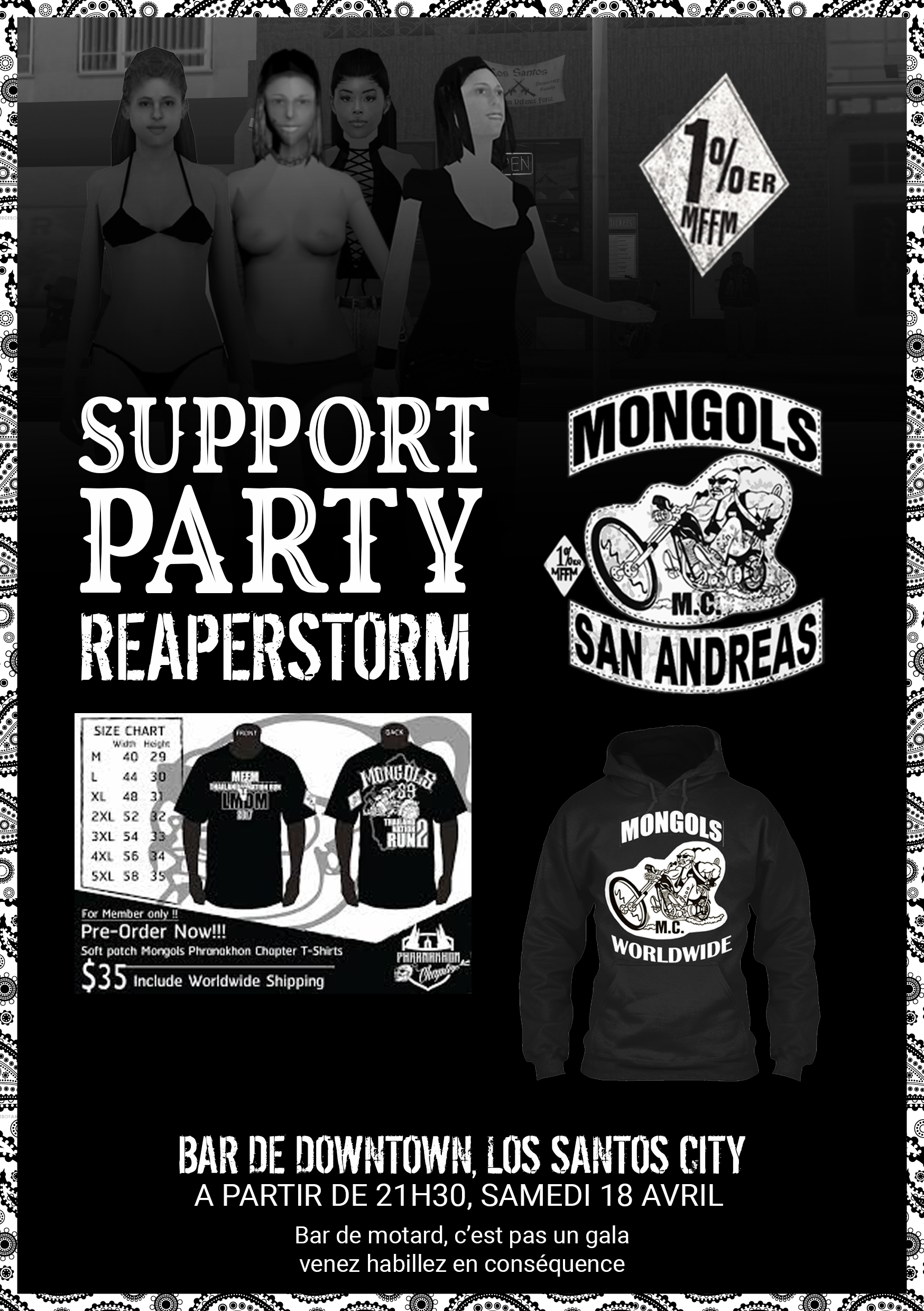 Flyer sur la plus part des murs de Los Santos Supportparty
