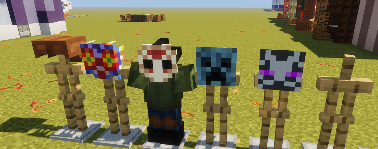 my work ethic lately has been awful, but on and off I've been working on a resource pack that aims to add Halloween masks of different iconic characters to the game, so I hope people can enjoy the bit of progress I've made on that