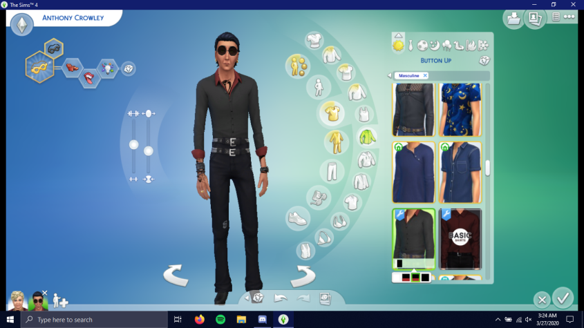 It's a sim but he has two pairs of pants