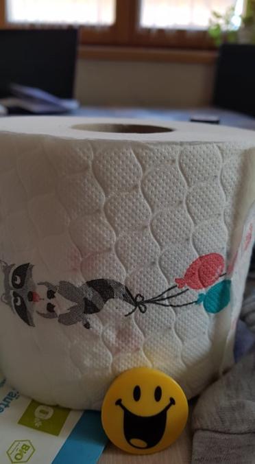 Klopapierrolle Bedruckt mit einem Waschbären und Luftballons, davor ein Kühlschrankmagnet in Form eines Smileys