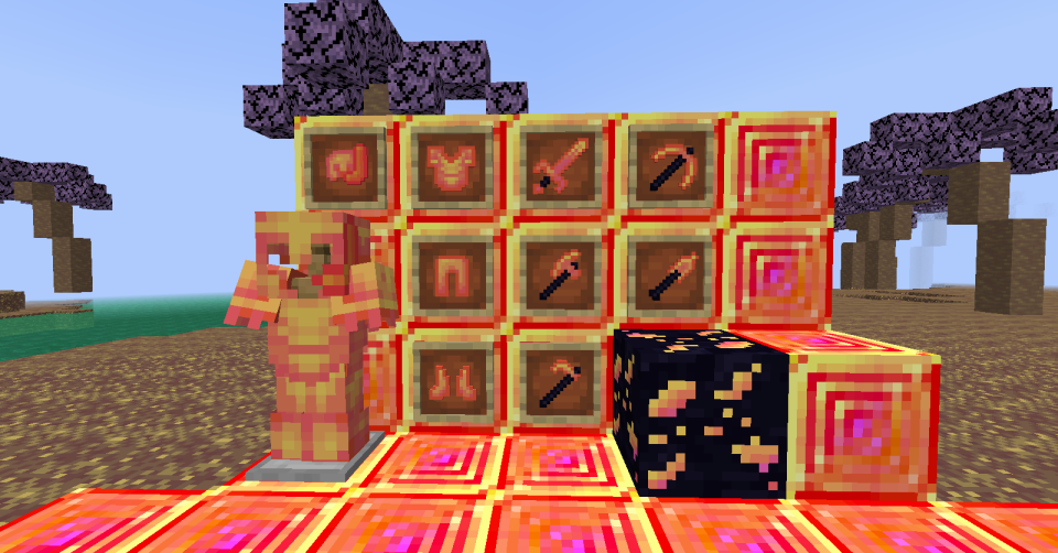"""Scarlet armor, tools and ore"""