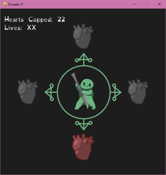 A screenshot of gameplay. It has a circle with a green blob holding a scalpel, with hearts in all four cardinal directions. The blob points to the red heart towards the bottom.