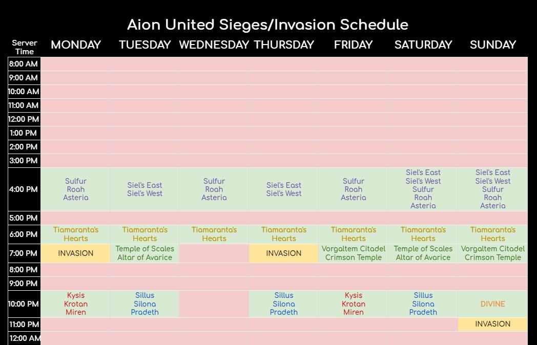 SIEGE/INVASION SCHEDULE Unknown