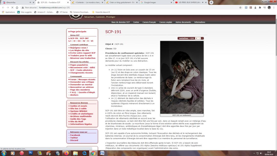 La page du site SCP officiele de SCP-191