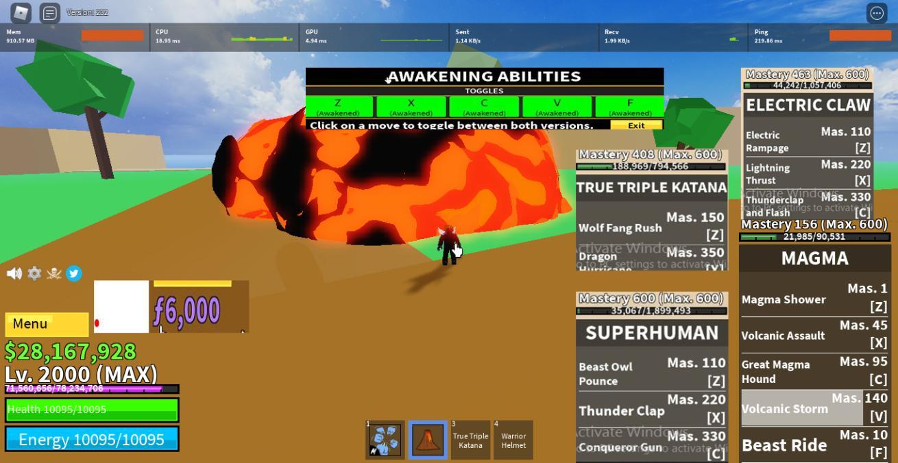 -Max level ăn Magma Full Awaken Có SuperHuman, Electric Claw Có TTK và 6k frag + 28m Beli