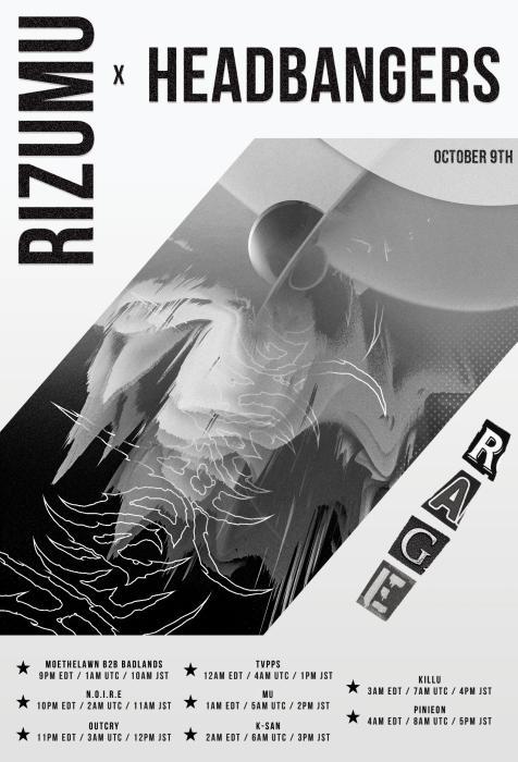 Flyer for Rizumu x Headbangers 10/9/2021