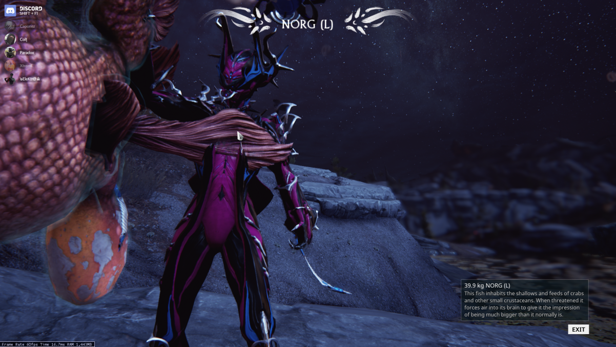 Norg bait gives a single small norg mission warframe for How to fish in warframe